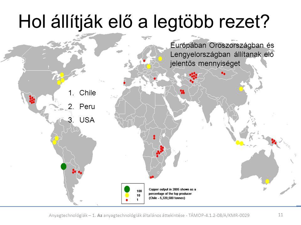 Hol állítják elő a legtöbb rezet? 11 1.Chile 2.Peru 3.USA Európában Oroszországban és Lengyelországban állítanak elő jelentős mennyiséget Anyagtechnol