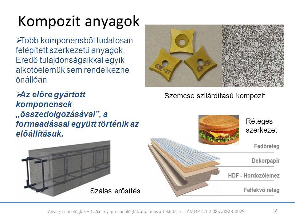 Kompozit anyagok 18  Több komponensből tudatosan felépített szerkezetű anyagok. Eredő tulajdonságaikkal egyik alkotóelemük sem rendelkezne önállóan 