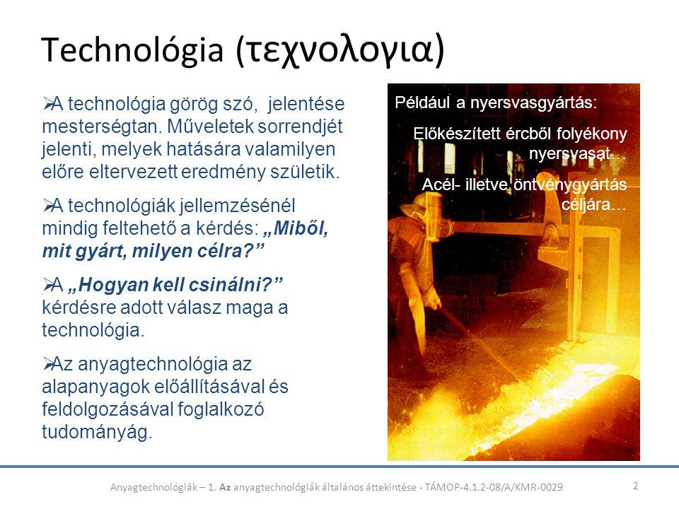 Technológia ( τεχνολογια) 2  A technológia görög szó, jelentése mesterségtan. Műveletek sorrendjét jelenti, melyek hatására valamilyen előre eltervez