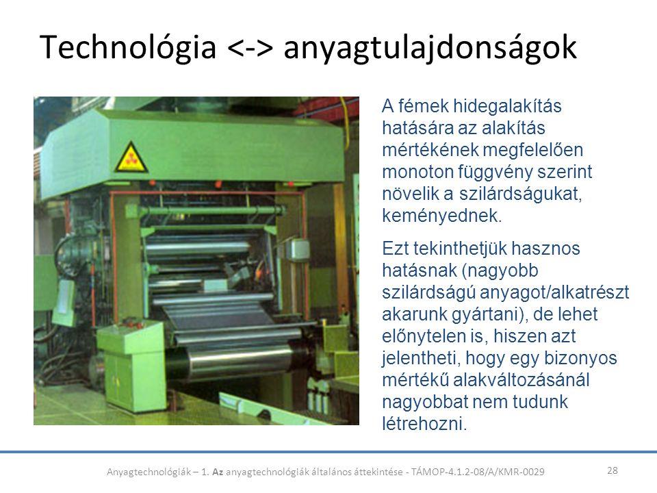 Technológia anyagtulajdonságok 28 A fémek hidegalakítás hatására az alakítás mértékének megfelelően monoton függvény szerint növelik a szilárdságukat,