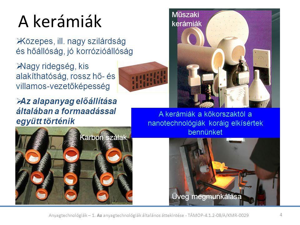 A kerámiák 4  Közepes, ill. nagy szilárdság és hőállóság, jó korrózióállóság  Nagy ridegség, kis alakíthatóság, rossz hő- és villamos-vezetőképesség