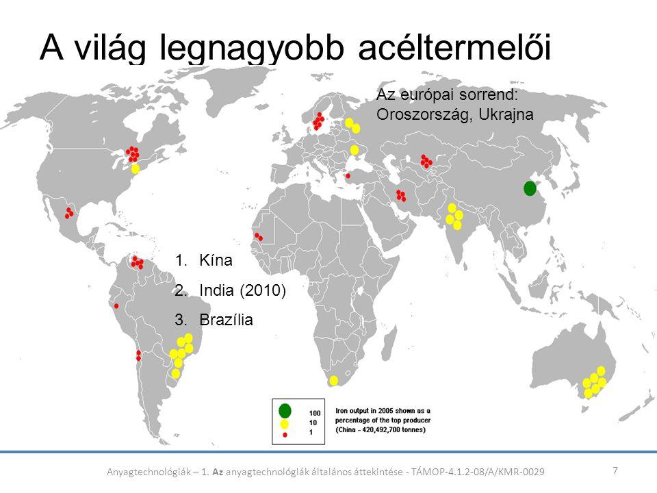 A világ legnagyobb acéltermelői 7 1.Kína 2.India (2010) 3.Brazília Az európai sorrend: Oroszország, Ukrajna Anyagtechnológiák – 1. Az anyagtechnológiá