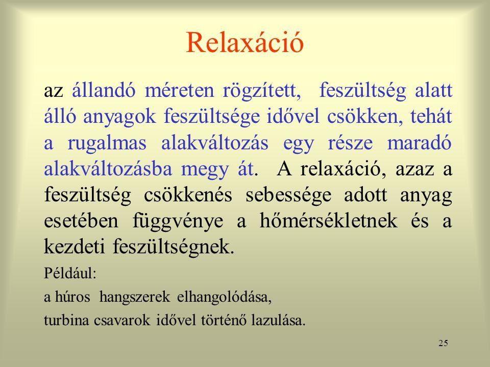 25 Relaxáció az állandó méreten rögzített, feszültség alatt álló anyagok feszültsége idővel csökken, tehát a rugalmas alakváltozás egy része maradó al