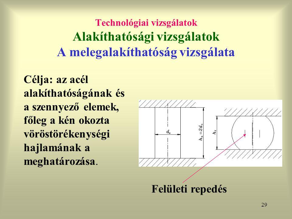 29 Technológiai vizsgálatok Alakíthatósági vizsgálatok A melegalakíthatóság vizsgálata Célja: az acél alakíthatóságának és a szennyező elemek, főleg a