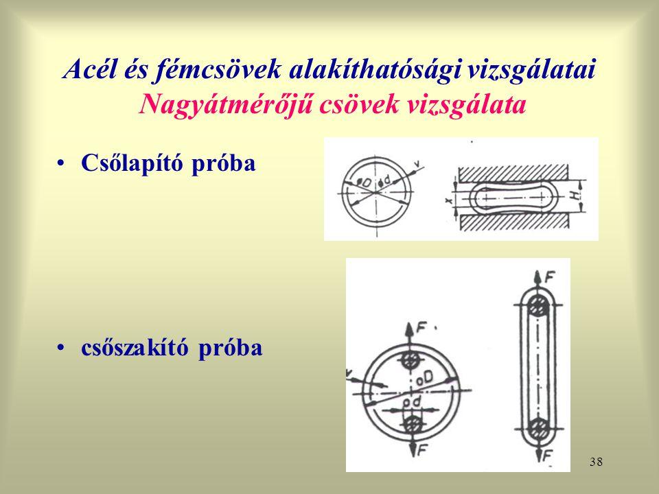38 Acél és fémcsövek alakíthatósági vizsgálatai Nagyátmérőjű csövek vizsgálata Csőlapító próba csőszakító próba