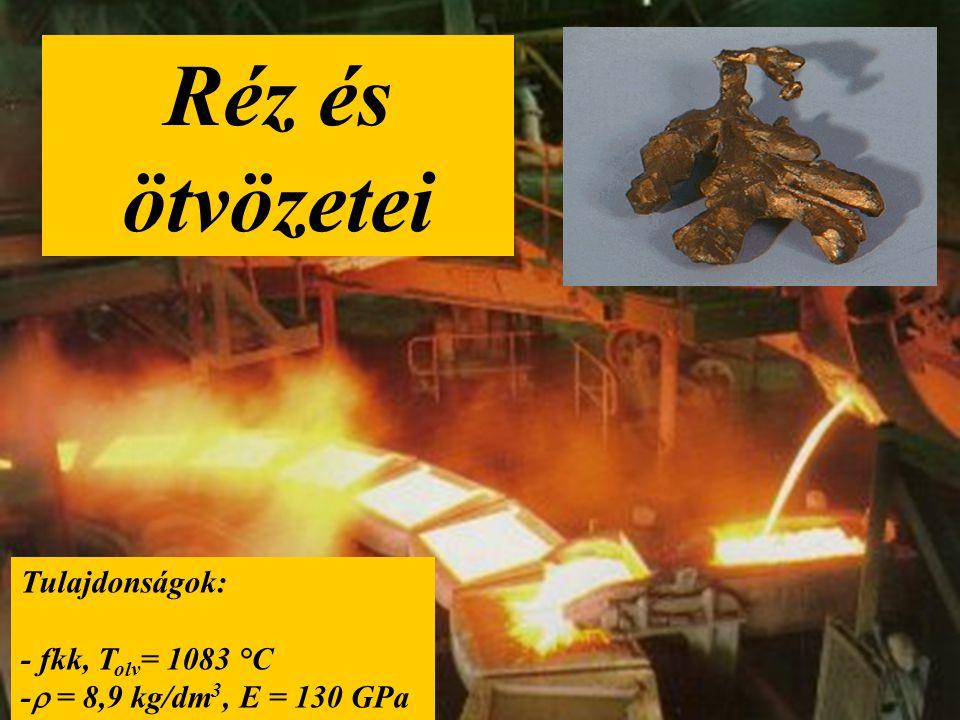Réz és ötvözetei Tulajdonságok: - fkk, T olv = 1083 °C -  = 8,9 kg/dm 3, E = 130 GPa