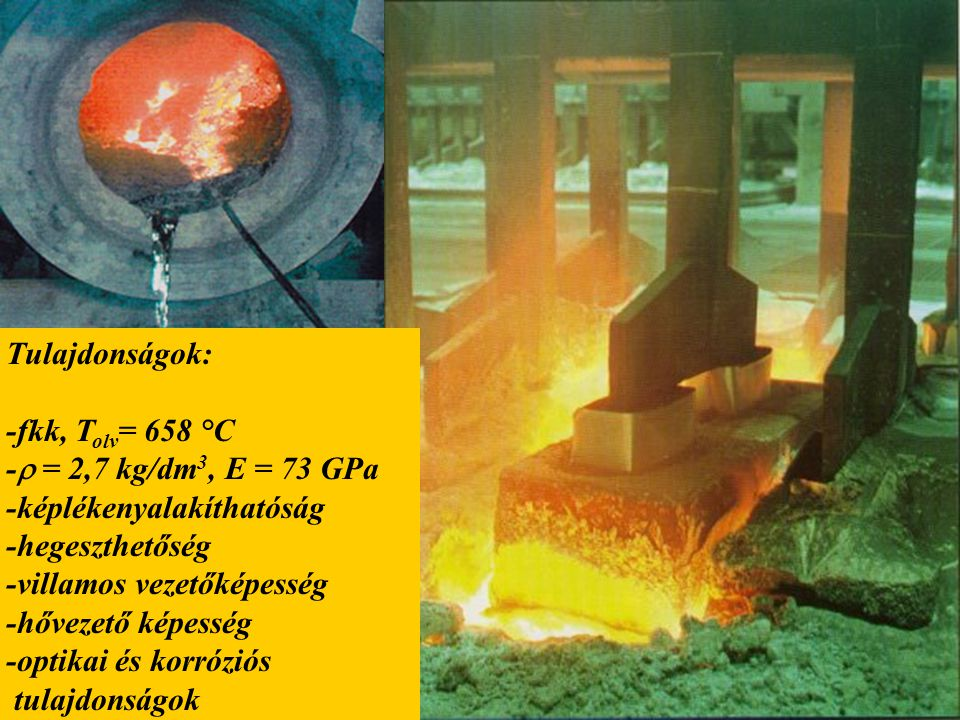 Tulajdonságok: -fkk, T olv = 658 °C -  = 2,7 kg/dm 3, E = 73 GPa -képlékenyalakíthatóság -hegeszthetőség -villamos vezetőképesség -hővezető képesség