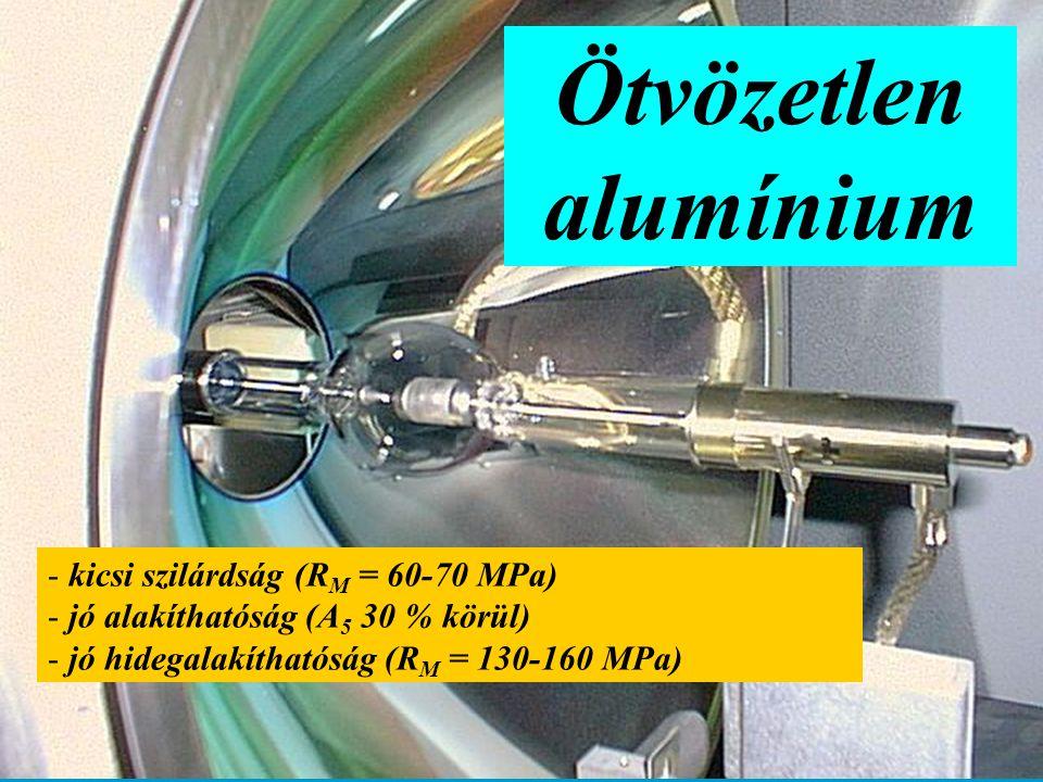 Ötvözetlen alumínium - kicsi szilárdság (R M = 60-70 MPa) - jó alakíthatóság (A 5 30 % körül) - jó hidegalakíthatóság (R M = 130-160 MPa)