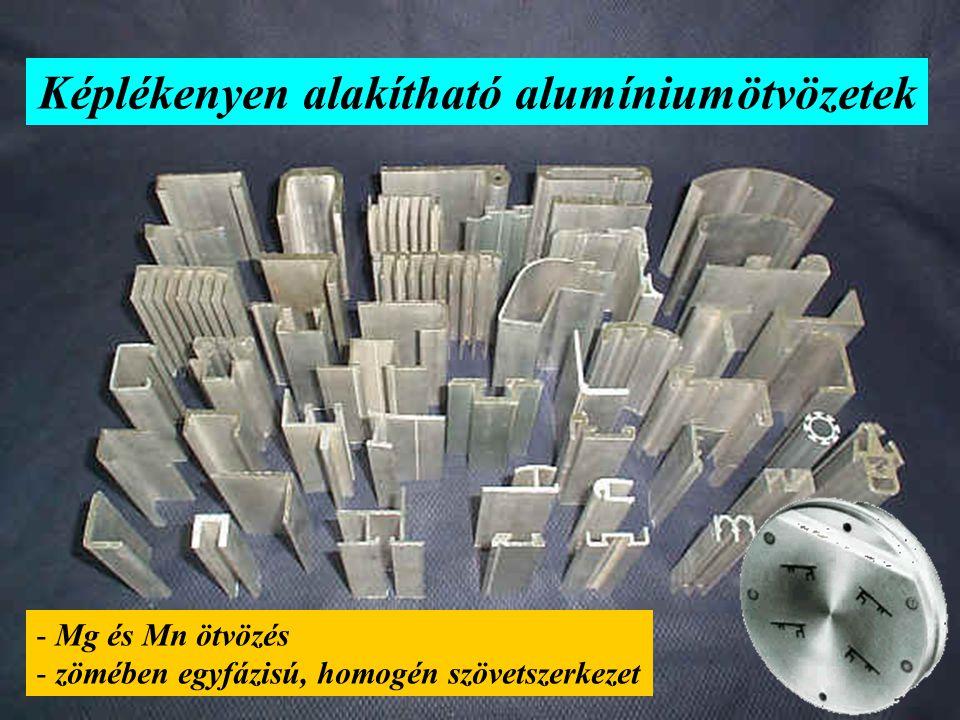 Képlékenyen alakítható alumíniumötvözetek - Mg és Mn ötvözés - zömében egyfázisú, homogén szövetszerkezet