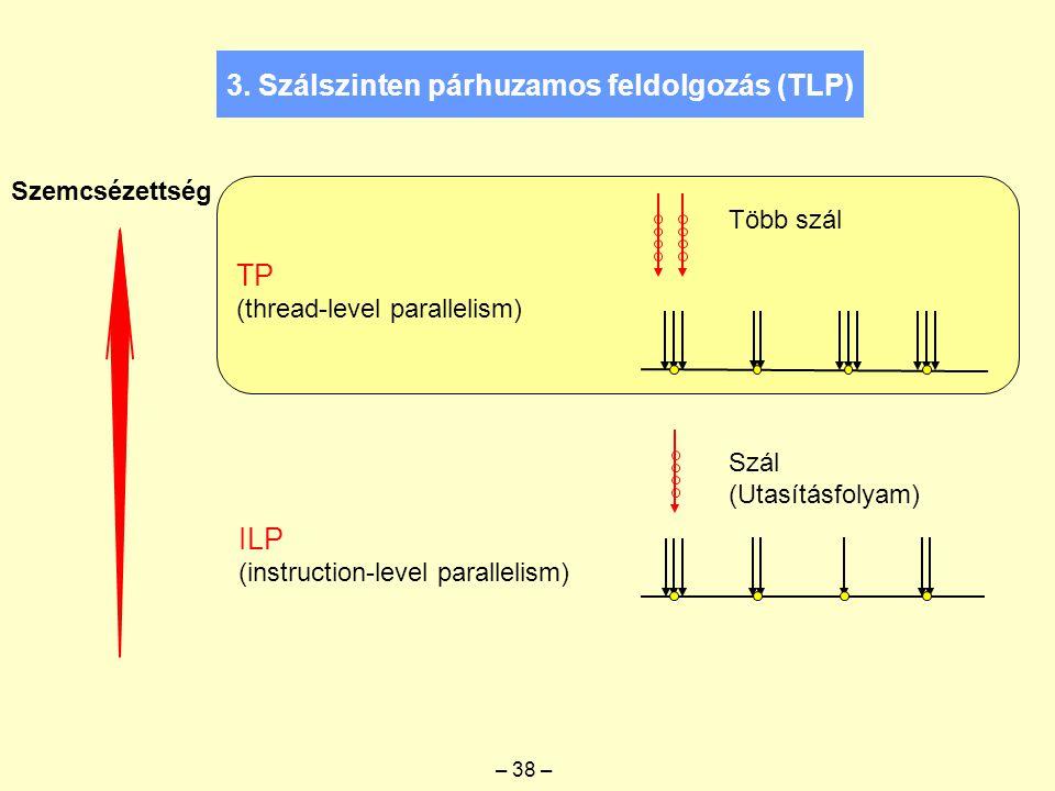 Szemcsézettség ILP (instruction-level parallelism) TP (thread-level parallelism) Szál (Utasításfolyam) Több szál – 38 – 3. Szálszinten párhuzamos feld