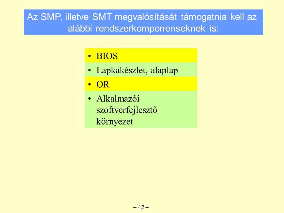 Az SMP, illetve SMT megvalósítását támogatnia kell az alábbi rendszerkomponenseknek is: BIOS Lapkakészlet, alaplap OR Alkalmazói szoftverfejlesztő környezet – 42 –