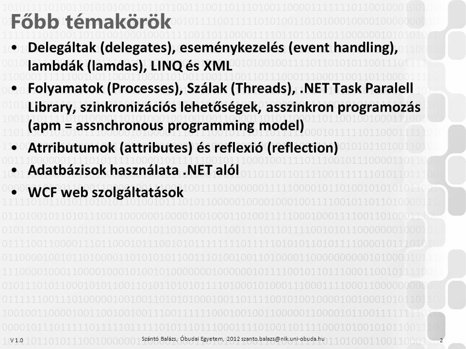 V 1.0 Főbb témakörök Delegáltak (delegates), eseménykezelés (event handling), lambdák (lamdas), LINQ és XML Folyamatok (Processes), Szálak (Threads),.