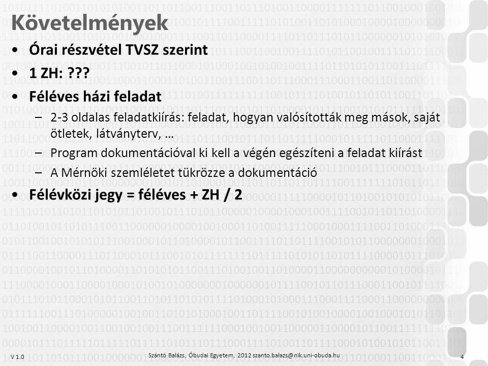 V 1.0 Követelmények Órai részvétel TVSZ szerint 1 ZH: ??? Féléves házi feladat –2-3 oldalas feladatkiírás: feladat, hogyan valósították meg mások, saj
