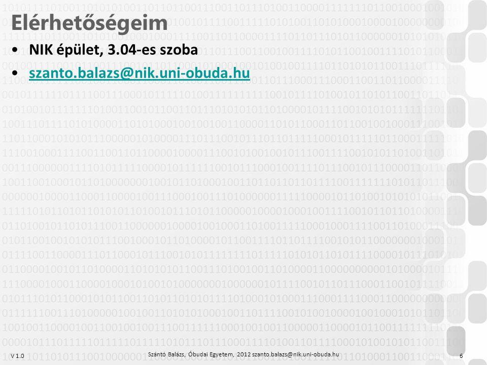 V 1.0 Elérhetőségeim NIK épület, 3.04-es szoba szanto.balazs@nik.uni-obuda.hu Szántó Balázs, Óbudai Egyetem, 2012 szanto.balazs@nik.uni-obuda.hu 6