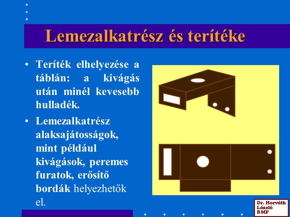 Lemezalkatrész és terítéke Teríték elhelyezése a táblán: a kivágás után minél kevesebb hulladék.