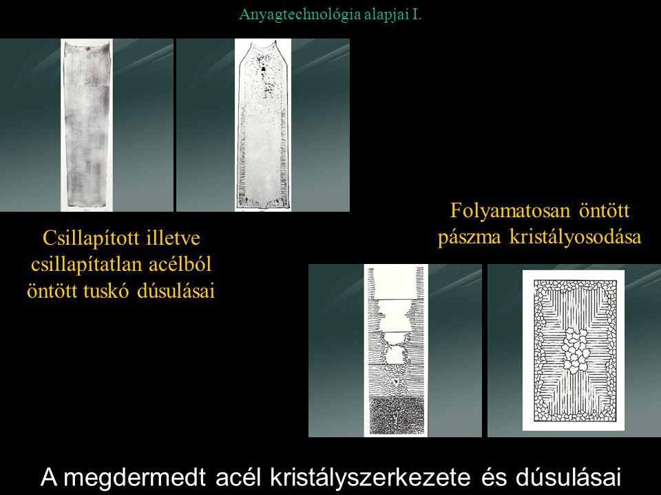 Anyagtechnológia alapjai I. A megdermedt acél kristályszerkezete és dúsulásai Folyamatosan öntött pászma kristályosodása Csillapított illetve csillapí