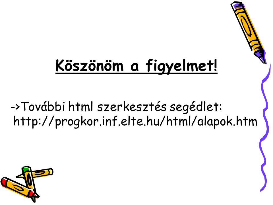 Köszönöm a figyelmet! ->További html szerkesztés segédlet: http://progkor.inf.elte.hu/html/alapok.htm