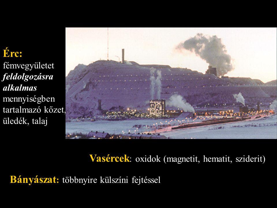 Érc: fémvegyületet feldolgozásra alkalmas mennyiségben tartalmazó kőzet, üledék, talaj Vasércek : oxidok (magnetit, hematit, sziderit) Bányászat : töb
