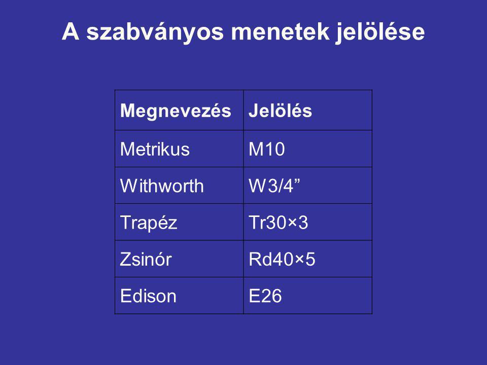 A szabványos menetek jelölése MegnevezésJelölés MetrikusM10 WithworthW3/4 TrapézTr30×3 ZsinórRd40×5 EdisonE26