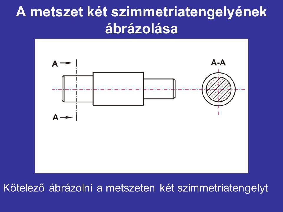 A metszet két szimmetriatengelyének ábrázolása Kötelező ábrázolni a metszeten két szimmetriatengelyt