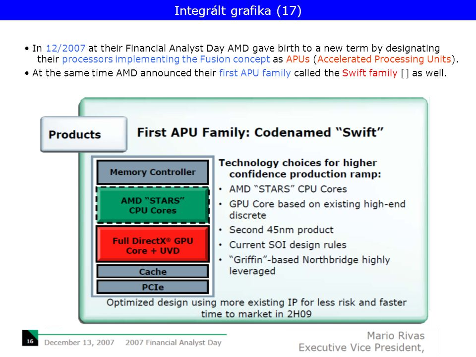 In 12/2007 at their Financial Analyst Day AMD gave birth to a new term by designating their processors implementing the Fusion concept as APUs (Accelerated Processing Units).