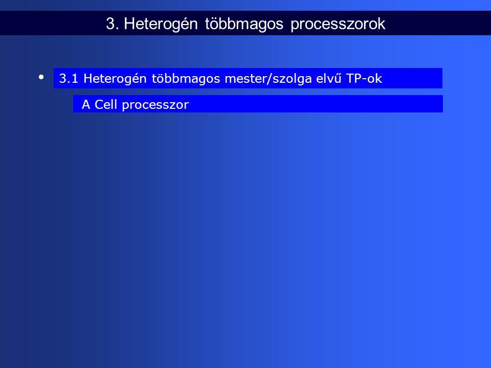 3. Heterogén többmagos processzorok 3.1 Heterogén többmagos mester/szolga elvű TP-ok A Cell processzor