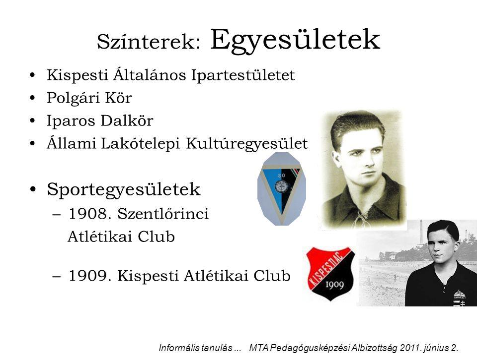 Színterek: Egyesületek Kispesti Általános Ipartestületet Polgári Kör Iparos Dalkör Állami Lakótelepi Kultúregyesület Sportegyesületek –1908.