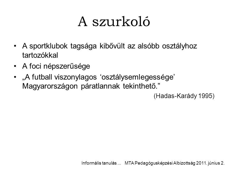"""A szurkoló A sportklubok tagsága kibővült az alsóbb osztályhoz tartozókkal A foci népszerűsége """"A futball viszonylagos 'osztálysemlegessége' Magyarországon páratlannak tekinthető. (Hadas-Karády 1995) Informális tanulás..."""