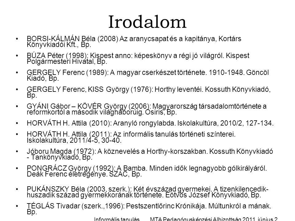 Irodalom BORSI-KÁLMÁN Béla (2008) Az aranycsapat és a kapitánya, Kortárs Könyvkiadói Kft., Bp.
