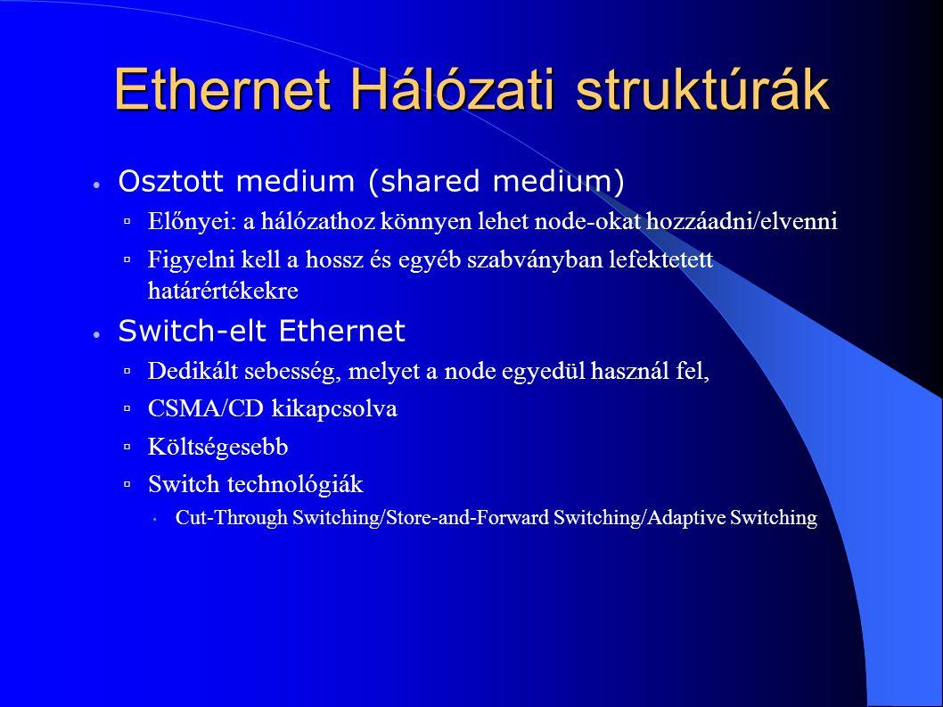 Ethernet Hálózati struktúrák Osztott medium (shared medium) ▫ Előnyei: a hálózathoz könnyen lehet node-okat hozzáadni/elvenni ▫ Figyelni kell a hossz