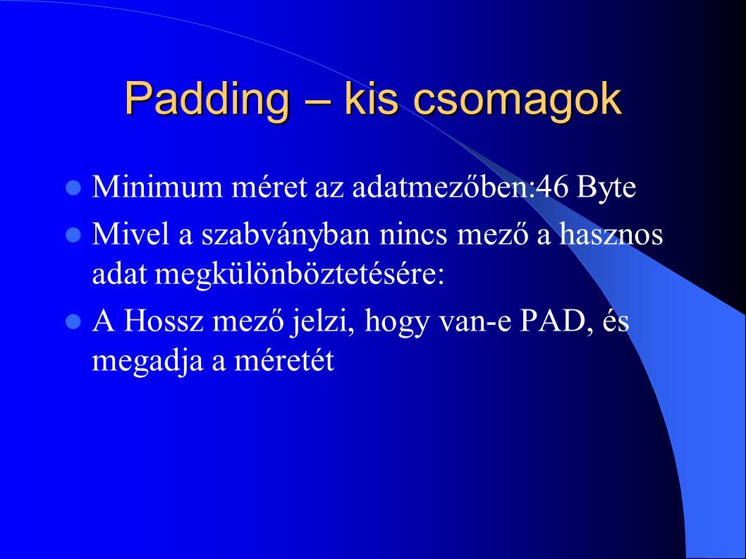 Padding – kis csomagok Minimum méret az adatmezőben:46 Byte Mivel a szabványban nincs mező a hasznos adat megkülönböztetésére: A Hossz mező jelzi, hog