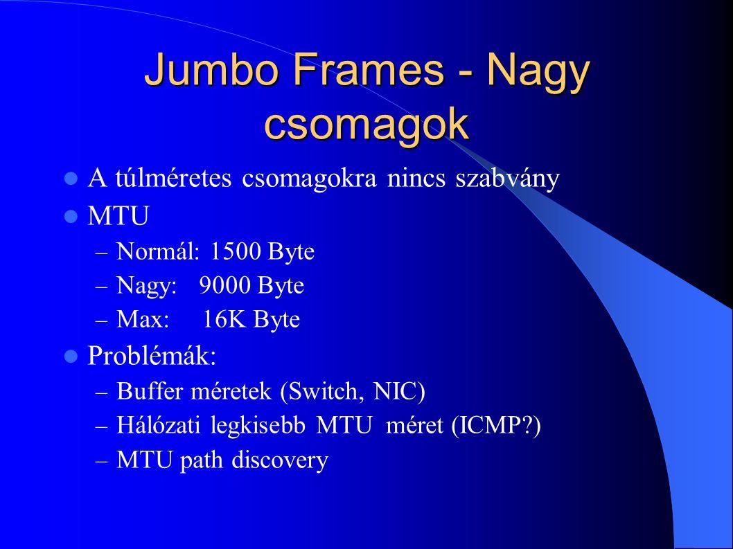 Jumbo Frames - Nagy csomagok A túlméretes csomagokra nincs szabvány MTU – Normál: 1500 Byte – Nagy: 9000 Byte – Max: 16K Byte Problémák: – Buffer mére