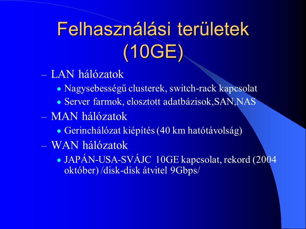 Felhasználási területek (10GE) – LAN hálózatok Nagysebességű clusterek, switch-rack kapcsolat Server farmok, elosztott adatbázisok,SAN,NAS – MAN hálóz