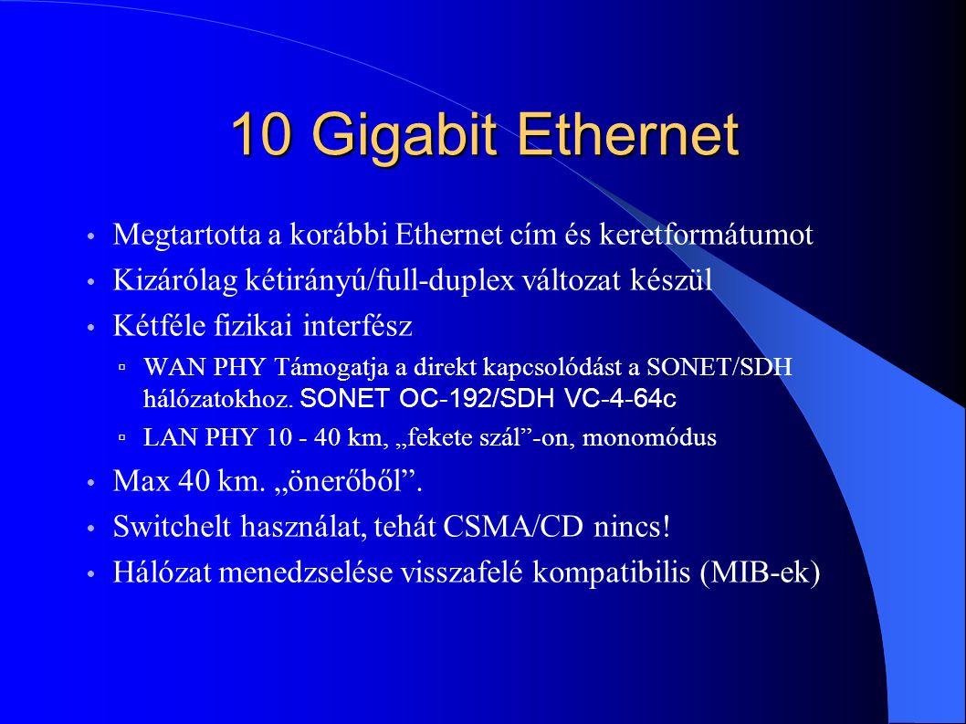 10 Gigabit Ethernet Megtartotta a korábbi Ethernet cím és keretformátumot Kizárólag kétirányú/full-duplex változat készül Kétféle fizikai interfész ▫