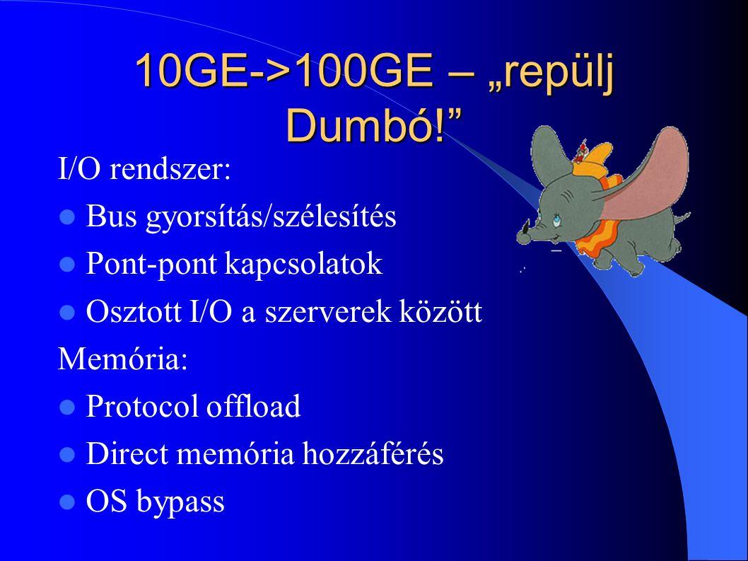 """10GE->100GE – """"repülj Dumbó!"""" I/O rendszer: Bus gyorsítás/szélesítés Pont-pont kapcsolatok Osztott I/O a szerverek között Memória: Protocol offload Di"""