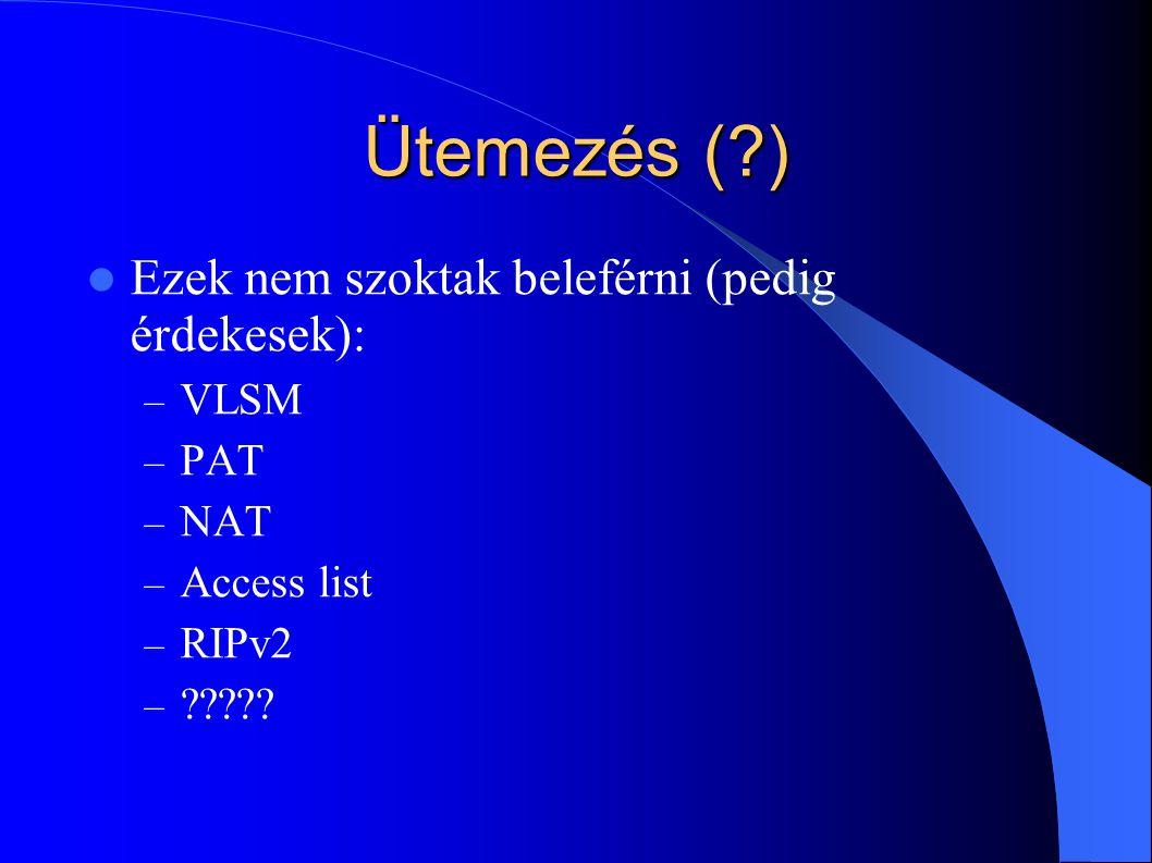 Ütemezés (?) Ezek nem szoktak beleférni (pedig érdekesek): – VLSM – PAT – NAT – Access list – RIPv2 – ?????