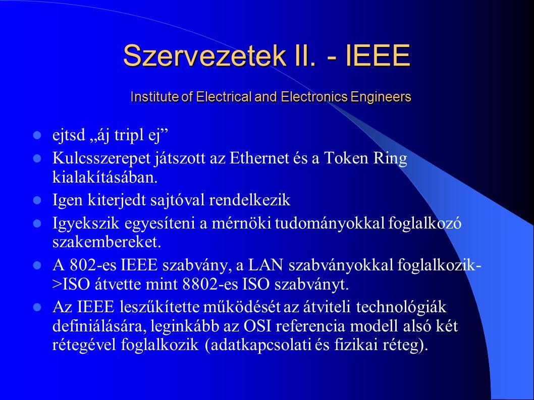 """Szervezetek II. - IEEE Institute of Electrical and Electronics Engineers ejtsd """"áj tripl ej"""" Kulcsszerepet játszott az Ethernet és a Token Ring kialak"""