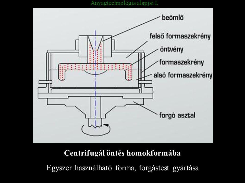 Anyagtechnológia alapjai I. Centrifugál öntés homokformába Egyszer használható forma, forgástest gyártása