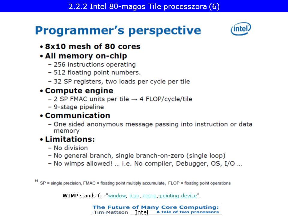 Intel WIMP stands for window, icon, menu, pointing device ,windowiconmenupointing device 2.2.2 Intel 80-magos Tile processzora (6)