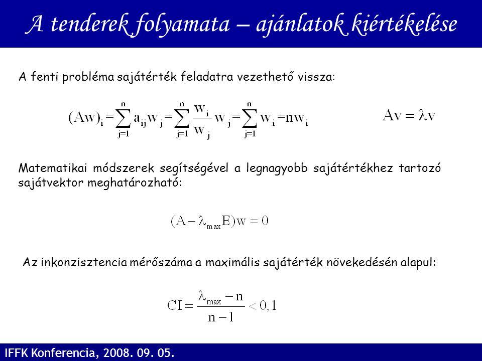 A fenti probléma sajátérték feladatra vezethető vissza: Az inkonzisztencia mérőszáma a maximális sajátérték növekedésén alapul: Matematikai módszerek