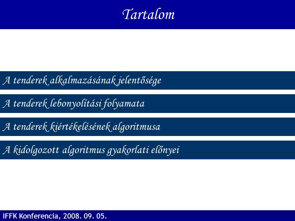 A tenderek alkalmazásának jelentősége A tenderek lebonyolítási folyamata Tartalom A tenderek kiértékelésének algoritmusa IFFK Konferencia, 2008. 09. 0