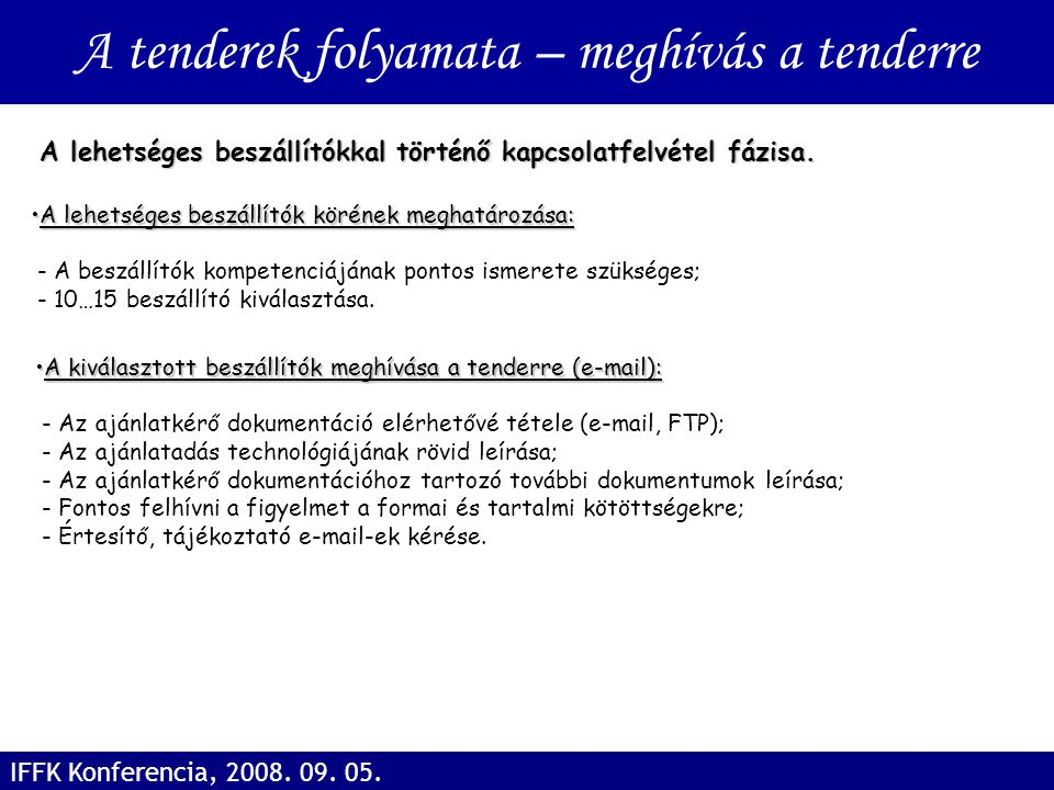 A tenderek folyamata – meghívás a tenderre IFFK Konferencia, 2008. 09. 05. A lehetséges beszállítók körének meghatározása:A lehetséges beszállítók kör