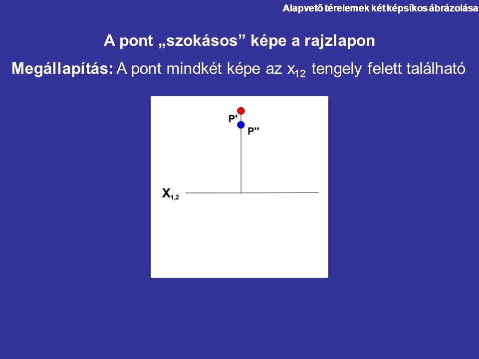"""Alapvető térelemek két képsíkos ábrázolása Megállapítás: A pont mindkét képe az x 12 tengely felett található A pont """"szokásos"""" képe a rajzlapon"""