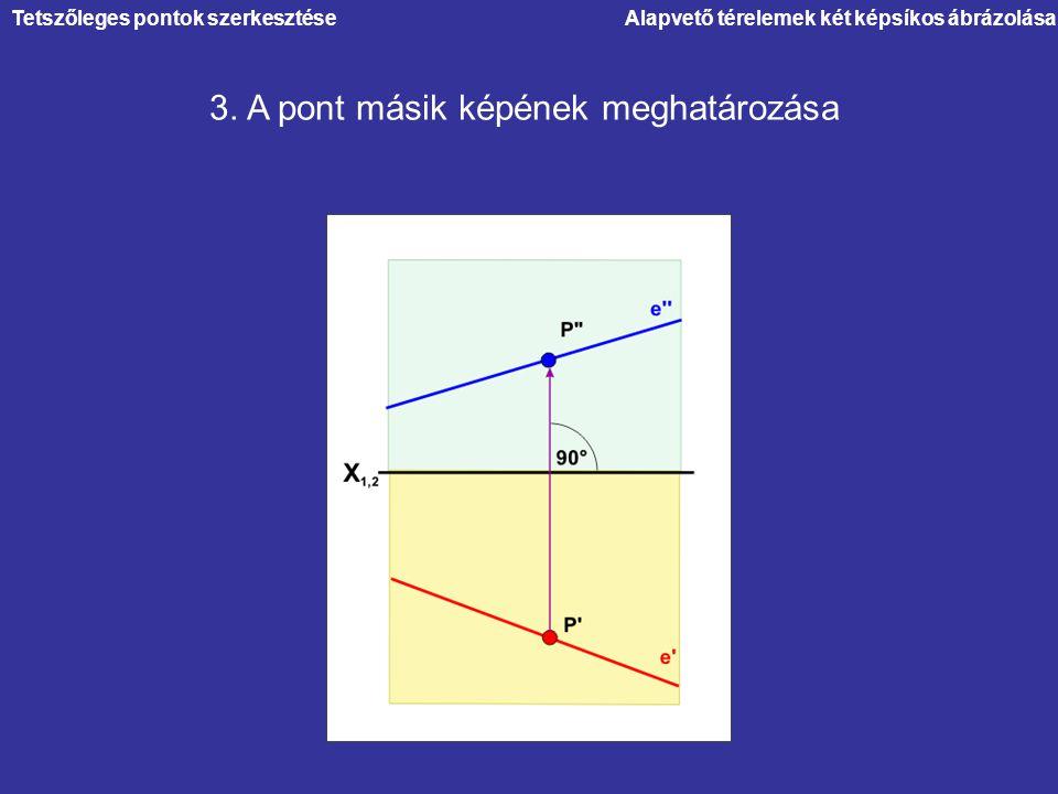 Alapvető térelemek két képsíkos ábrázolása 3. A pont másik képének meghatározása Tetszőleges pontok szerkesztése