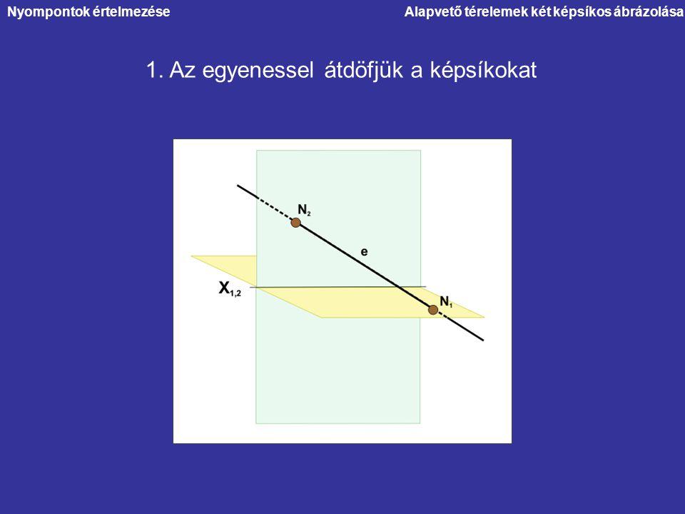 1. Az egyenessel átdöfjük a képsíkokat Alapvető térelemek két képsíkos ábrázolásaNyompontok értelmezése