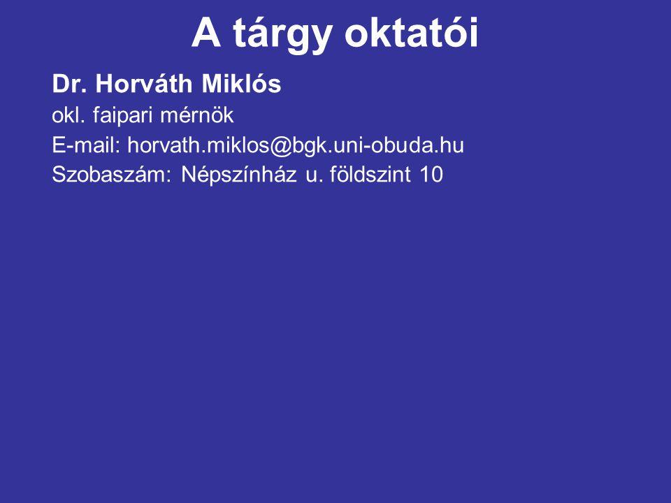 A tárgy oktatói Dr. Horváth Miklós okl. faipari mérnök E-mail: horvath.miklos@bgk.uni-obuda.hu Szobaszám: Népszínház u. földszint 10