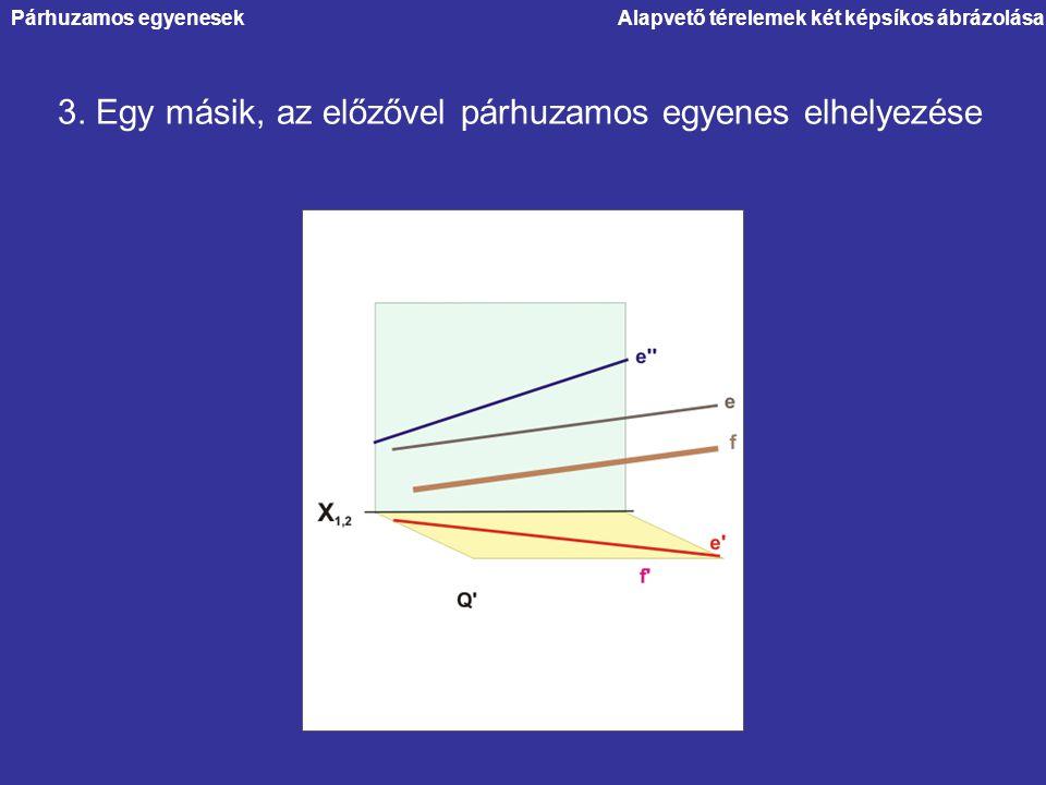 Alapvető térelemek két képsíkos ábrázolása 3. Egy másik, az előzővel párhuzamos egyenes elhelyezése Párhuzamos egyenesek