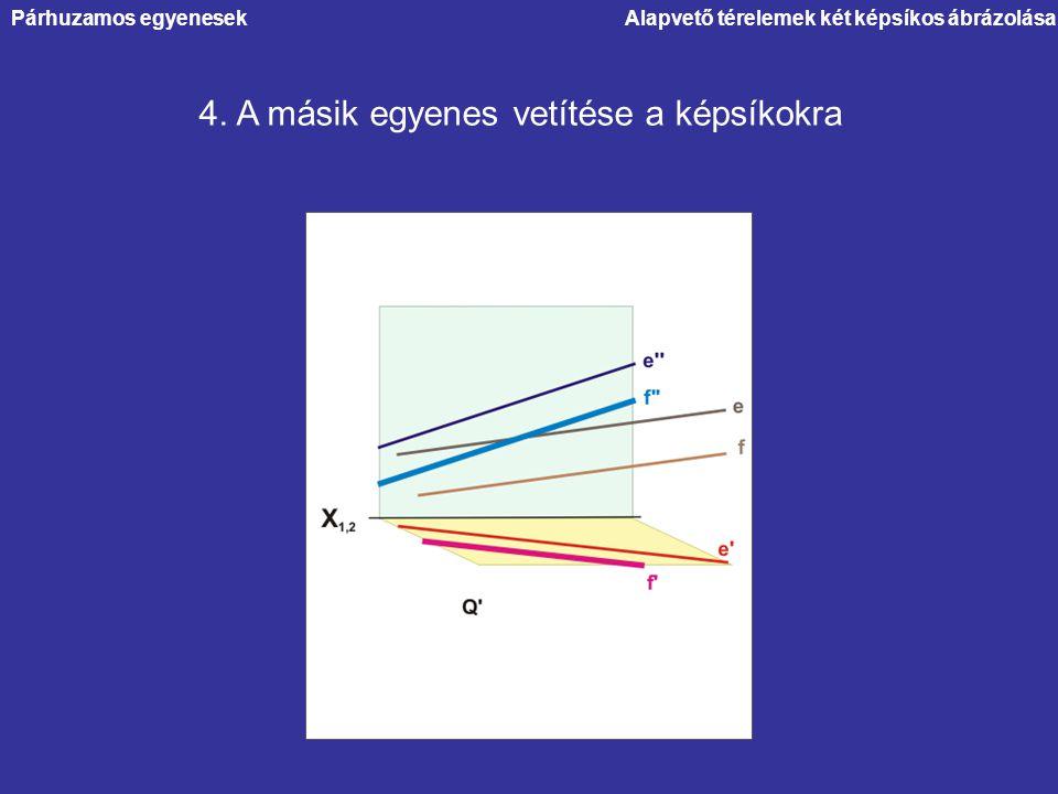Alapvető térelemek két képsíkos ábrázolása 4. A másik egyenes vetítése a képsíkokra Párhuzamos egyenesek
