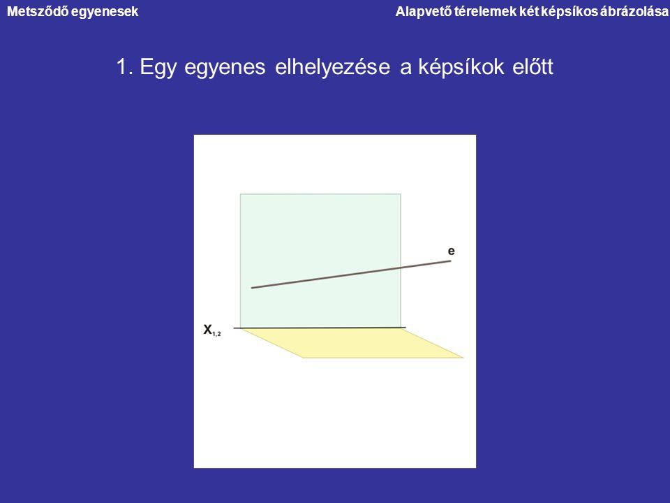 Metsződő egyenesekAlapvető térelemek két képsíkos ábrázolása 1. Egy egyenes elhelyezése a képsíkok előtt