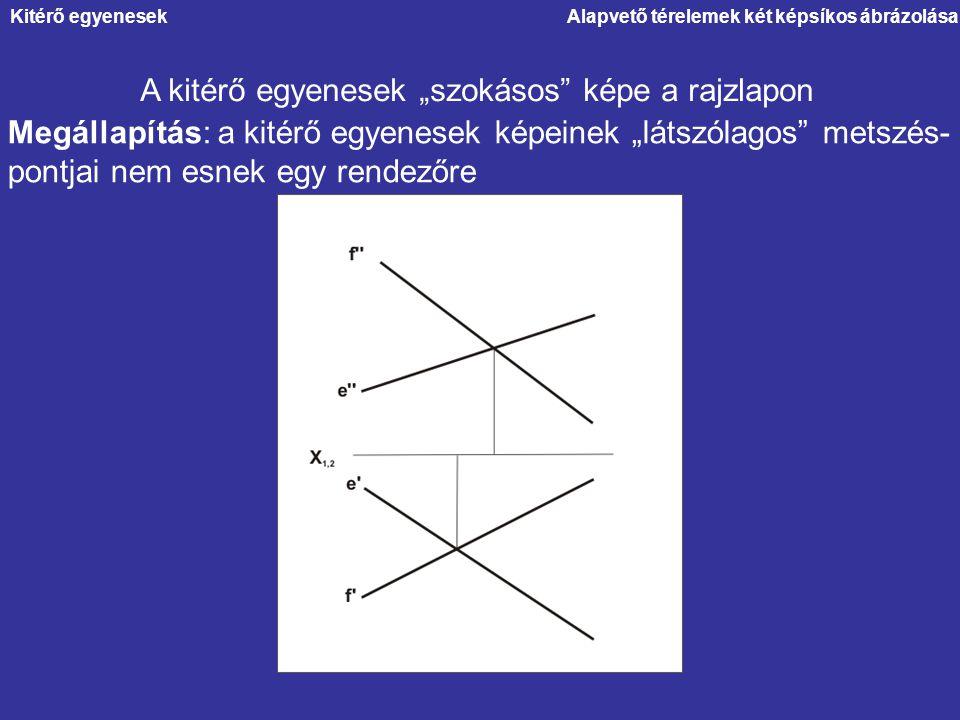 """Alapvető térelemek két képsíkos ábrázolása A kitérő egyenesek """"szokásos"""" képe a rajzlapon Megállapítás: a kitérő egyenesek képeinek """"látszólagos"""" mets"""